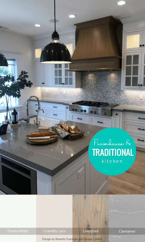 White Kitchen Cabinets Gray Countertops And Wood Oven Hood In Traditional Kitchen Featured On Remodelaholic