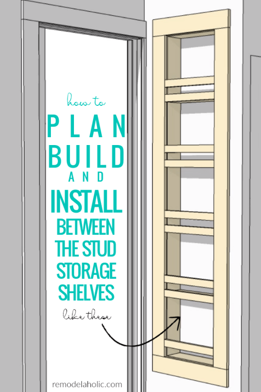 How To Plan Build And Install Built In Between The Stud Storage Shelves For A Small Bathroom #remodelaholic
