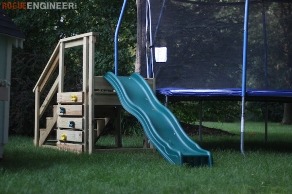DIY Trampoline Stairs With Slide Rogue Engineer 3
