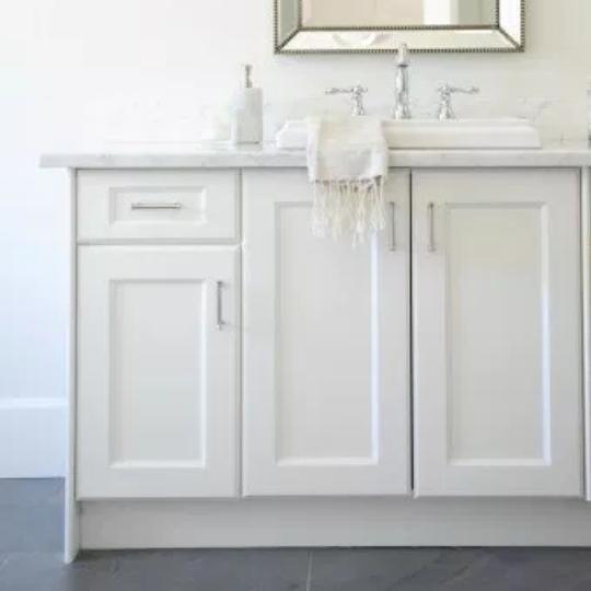 3.3 White Bathroom Vanity With Grey Tile Floor
