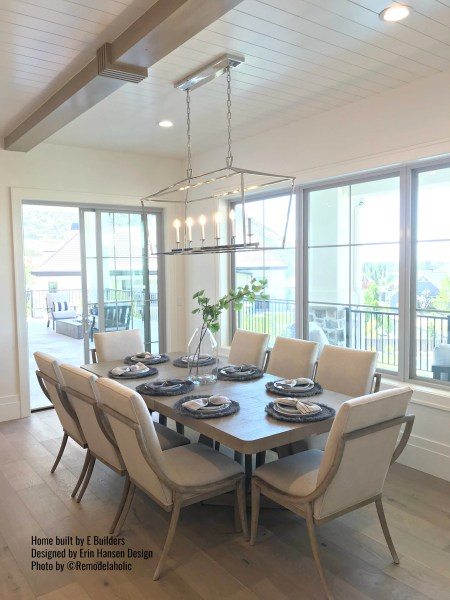 Transitional Home Dining Room with modern table and chairs