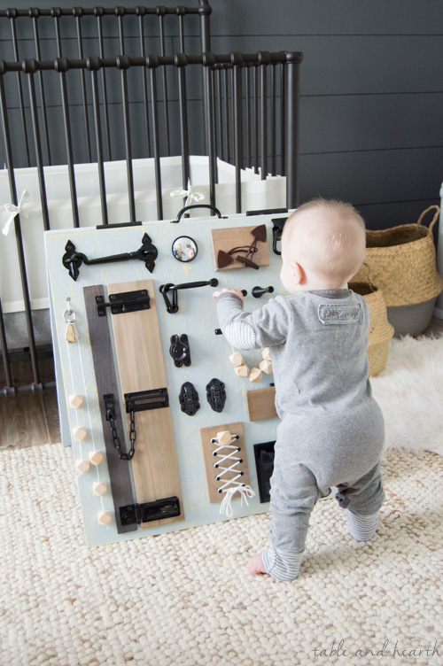 Stylish Rustic Baby Busy Board 11