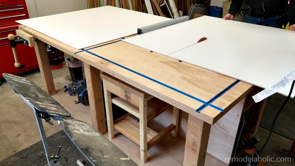 Cutting The Melamine For Refrigerator Cabinet Organizer #remodelaholic