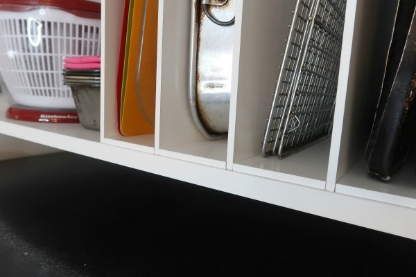 IKEA Hack: DIY Over the Fridge Cabinet Organizer for Cookie Sheets and Cutting Boards