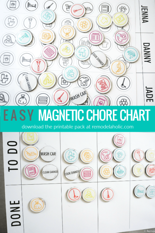 Easy Magnetic Chore Chart Printable Pack, Instant Download PDF #remodelaholic