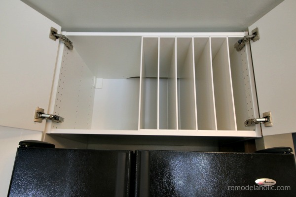 Ikea Hack DIY Over The Fridge Cabinet Organizer For Cookie Sheets And Cutting Boards #remodelaholic