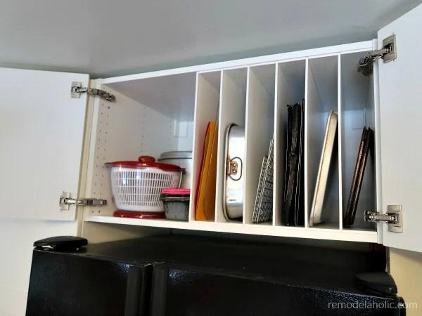 Organized Over The Fridge Cabinet, DIY Ikea Kitchen Cabinet Hack #remodelaholic