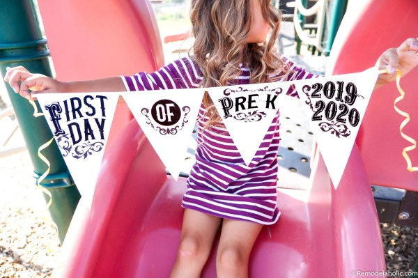 Pennant Flag School Photo Sign Printable First Day Of School #reemodelaholic