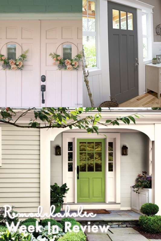 All Things Doors! Collage Of Exterior Doors, Bright Green Against White Trim, Grey Against White Trim, And Double Light Pink Doors With Floral Wreaths