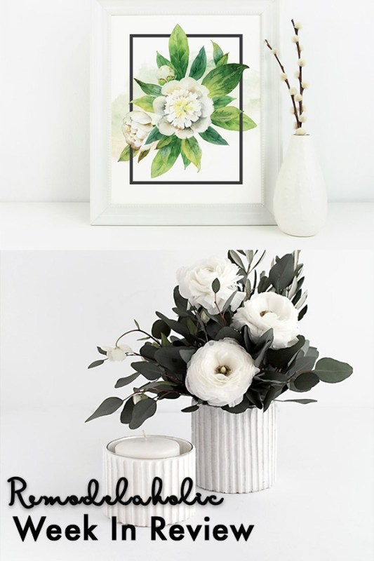 Flower Vase Collage Top Pic White Smooth Vase With Cotton Branches Next To A White And Green Floral Pic. Bottom Vase Textured Horizontal Lines, White With Green Leaves And White Flowers