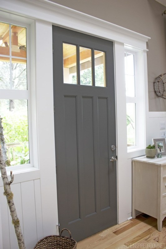Tall, Wood, Grey Door With White Trim