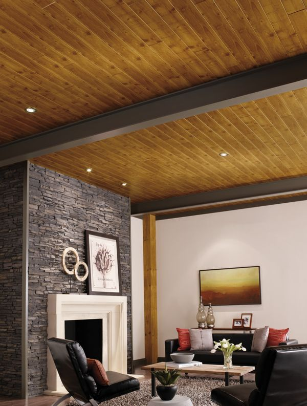 Stained Wood Plank Ceiling