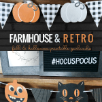 Printable Bunting Garland Pennant Banners For Farmhouse Fall Pumpkin And Retro Black Cat Halloween Decor #remodelaholic