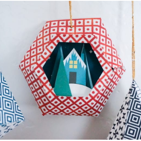 3D Oragami Christmas Ornament, Red Globe With House And Tree Inside