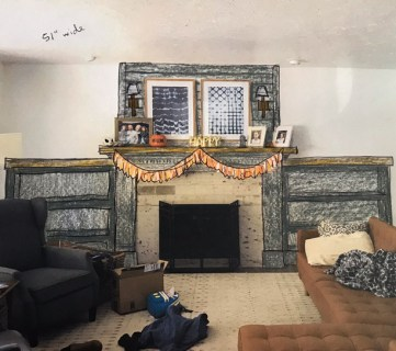 Sketch of DIY fireplace makeover with bookshelves