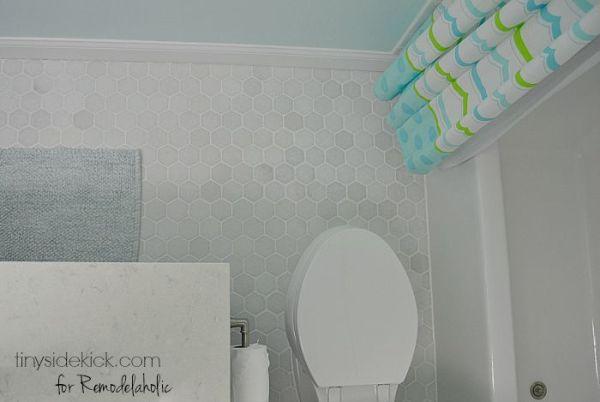 Bathroom Grey Hexagon Tile Floor
