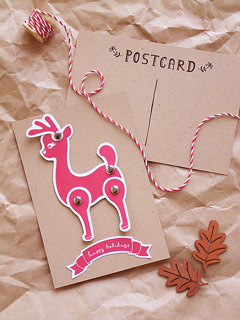 Brown Cardstock Turned Into A Christmas Cafd With Red Printable Reindeer And Gold Brads