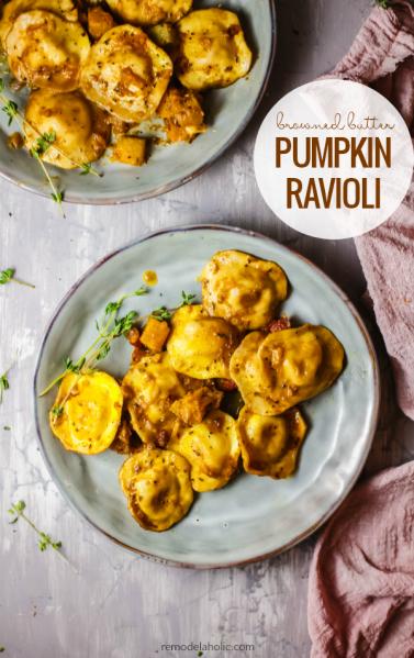 Browned Butter Pumpkin Ravioli Recipe #remodelaholic
