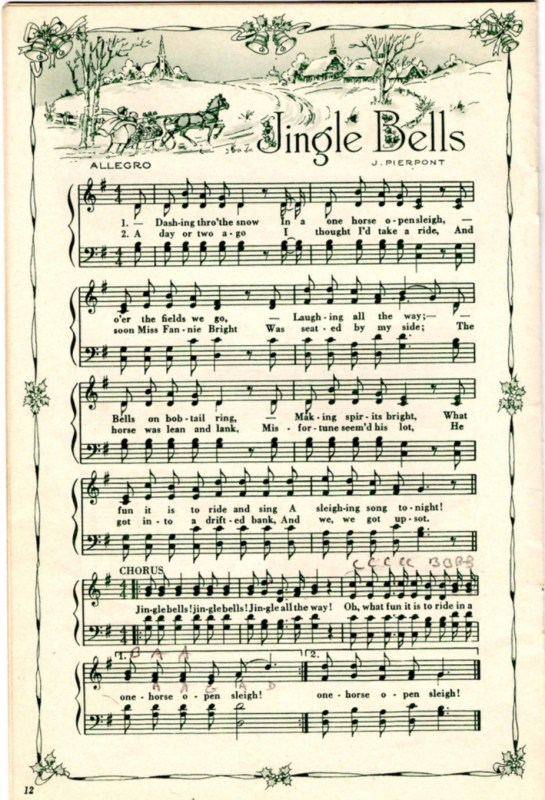 Vintage Christmas Music With Vintage Graphics, Sheet Music Showing Of Jingle Bells