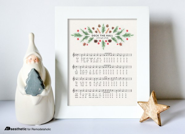 White Frame With Deck The Halls Christmas Music And Colorful Christmas Graphics Surrounding Title Deck The Hall