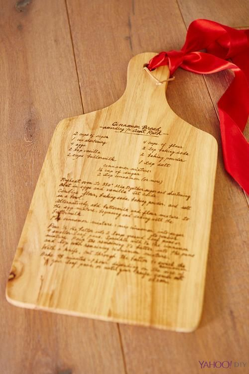 Wooden Pot Holder With Favorite Recipe On Top