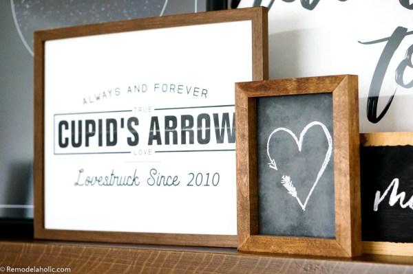 Printable Love Wall Art: Custom Date Valentine's Day Cupid Heart Printable Set