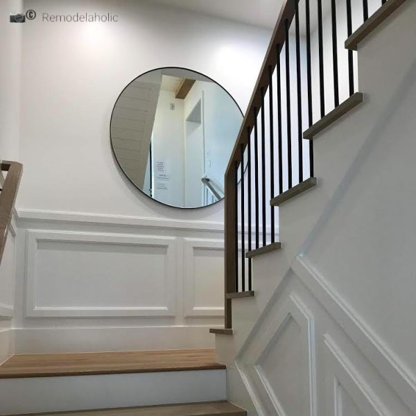 Beautiful Mirror Going Up A Staircase Photo By Remodelaholic.com