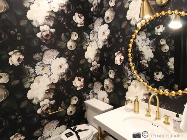 Statement Round Golden Mirror In A Floral Wallpapered Bathroom Photo By Remodelaholic.com