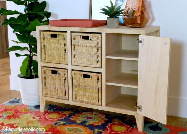 Woodworking Plan To Build A DIY Entry Table With Cubby Storage For IKEA 13 Inch Bins, Remodelaholic (1)