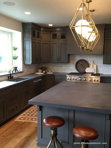 Dark Gray Kitchen Cabinets, Dark Gray Countertop, Light Gray Backsplash, UVPH 2016 Home 15 Ivory Homes