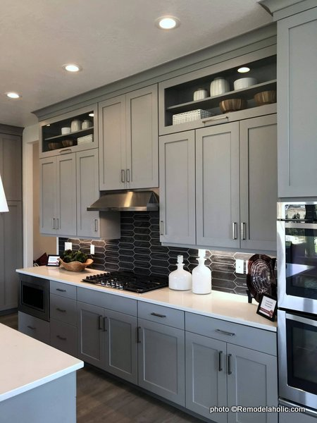 Light Gray Kitchen Cabinets With Dark Gray Backsplash, Upper Display Shelves, SLPH 2018 Home 5 Regal Homes