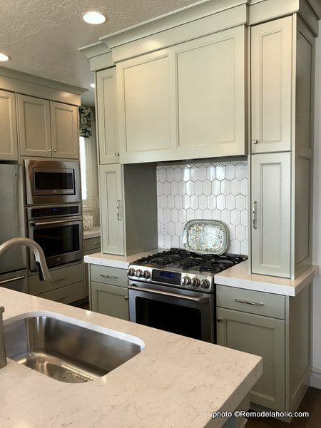 Light Gray Kitchen Cabinets With White Tile Backsplash White Countertop, UVPH17 House 24 Ivory Homes