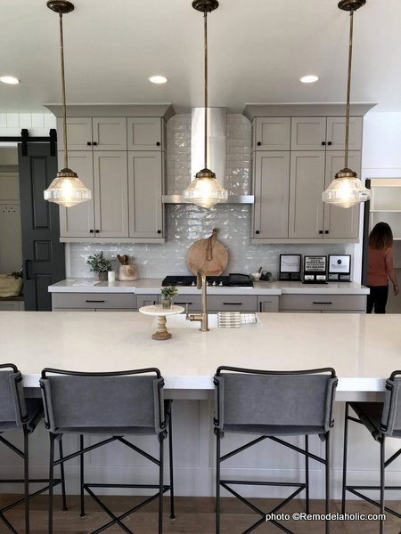 Modern Farmhouse Light Gray Kitchen Cabinetry To The Ceiling, UVPH 2017 Home 18 Millhaven Select, Millhaven Interiors