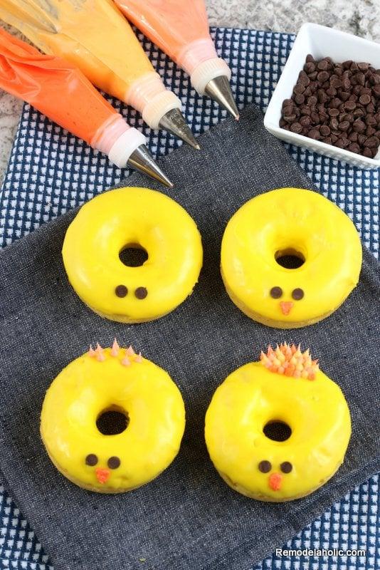 Spring Chick Donut Frosting Decorating, Easy Baked Donut Recipe Remodelaholic
