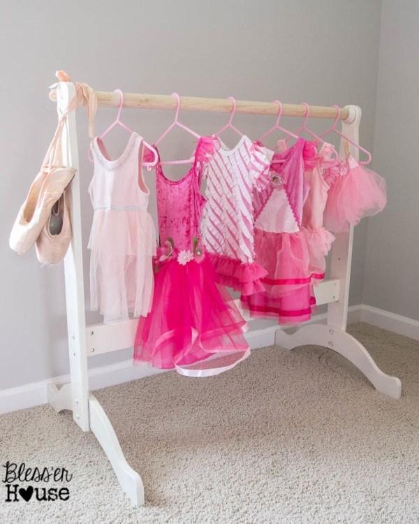 Dress Up Clothes Rack With Ballet Slippers And Pink Tutus