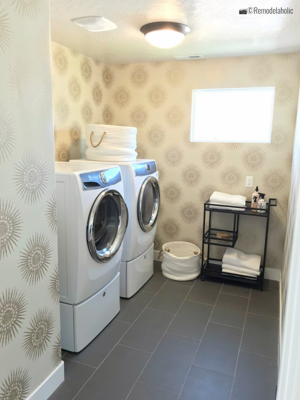 Mid Century Modern Wallpapered Laundry Room, UvPH 2018 Home 9 DR Horton, Photo by Remodelaholic