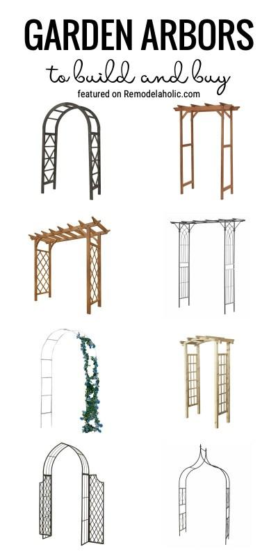 Ajoutez une zone amusante à votre jardin avec une tonnelle de jardin. Des tonnelles de jardin à construire et acheter en vedette sur Remodelaholic.com