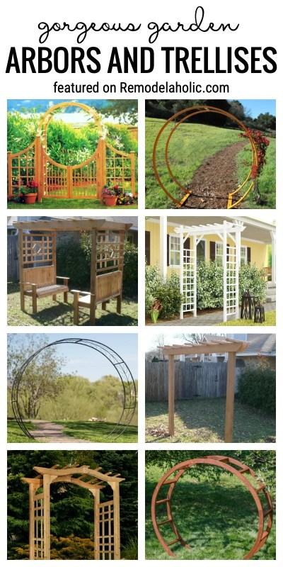 Ajoutez quelque chose de spécial à vos espaces extérieurs. Arbres et treillis de magnifiques jardins en vedette sur Remodelaholic.com