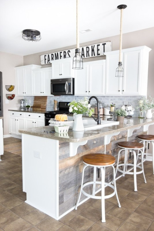 DIY Farmers Market Sign In Kitchen With White Cabinets And Barstools And Natural Wood Shiplap On Bar