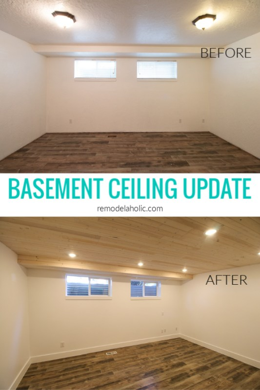 DIY Basement Ceiling Update With Whitewashed Plank Wood Ceiling And Recessed Can Lights #remodelaholic