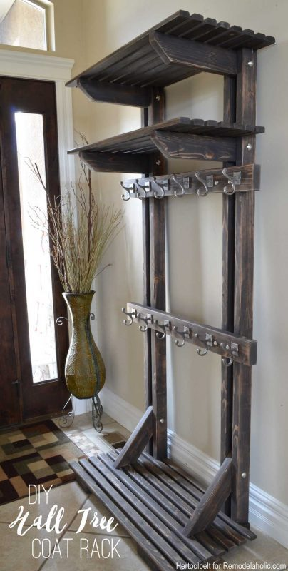 Entryway With DIY Wooden Hall Tree Coat Rack Inspired By Pottery Barn