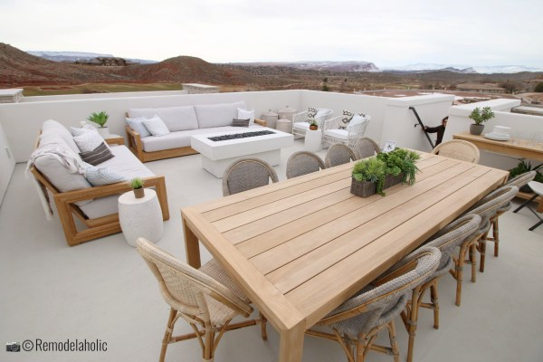 Open concept outdoor dining set and area. SGPH 2019 House 03 Cole West Resorts LLC, Photo by Remodelaholic
