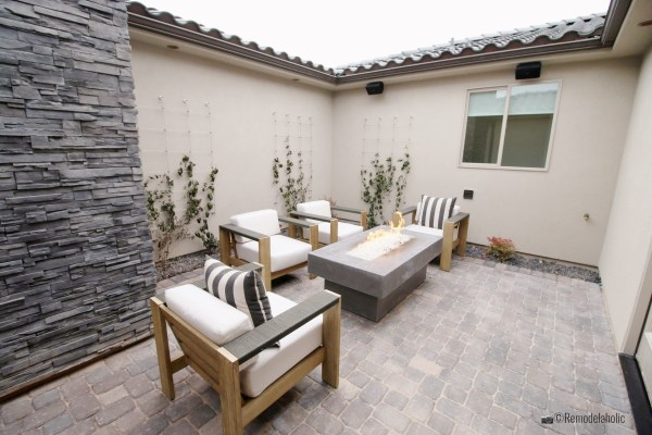 Simple trellises an outdoor fire pit area and where to buy trellises and garden arbors on Remodelaholic.com, for SGPH 2019 House 07 Brio Homes LLC, Photo by Remodelaholic