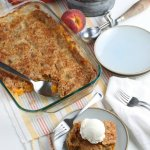 easy peach dump cake cobbler with cake mix