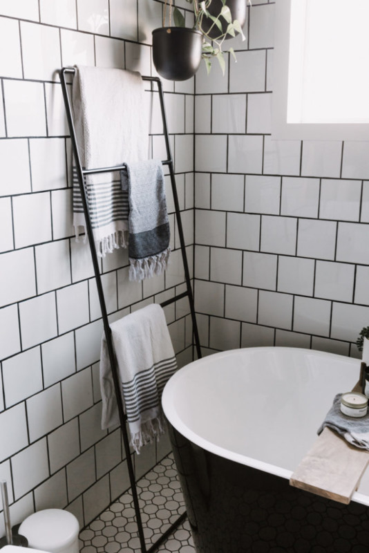 Diy Metal Towel Ladder Blanket Ladder By Freestanding Tub, Love Create Celebrate