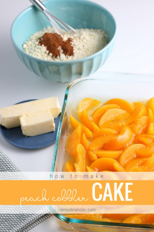 Easy Peach Dump Cake, Peach Cobbler Cake, Cheater Peach Cobbler Using Cake Mix #remodelaholic