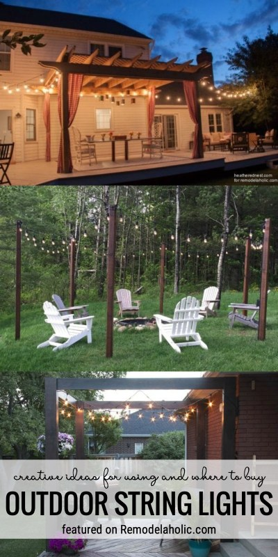 Creative Ideas For Using And Where To Buy Outdoor String Lights Featured On Remodelaholic.com