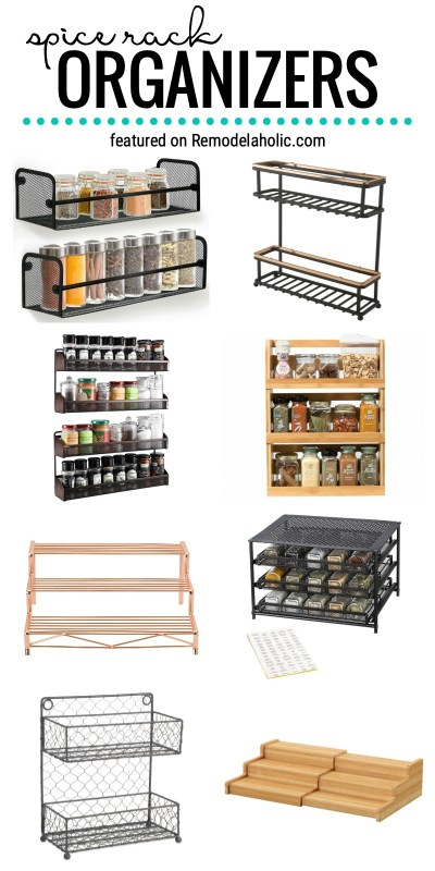 Get Organized In The Kitchen With Great Ideas For Spice Rack Organizers To Buy Or DIY. Find The Perfect System For Your Spices Featured On Remodelaholic.com