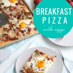 Easy Breakfast Pizza Recipe With Fried Eggs, Bacon, Sausage, Ham #remodelaholic
