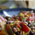 How To Make Texas Caviar Dip With Black Eyed Peas, Beans, Tomatoes, Peppers, Homemade Vinaigrette Dressing #remodelaholic